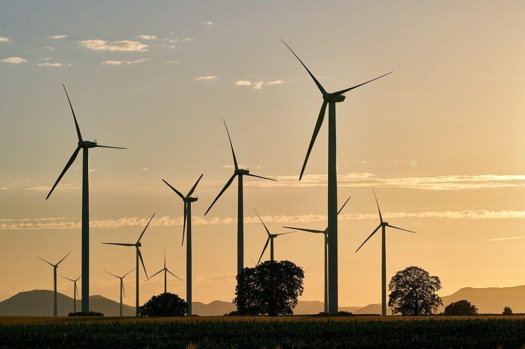 champ d'éolienne produisant de l'énergie renouvelable